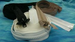 "#10 YKK Marine Zippers Black Beige White 6""- 240"" Heavy Duty"