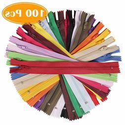 100Pcs 9 Inch Assorted Colors Nylon Soft Coil Zippers Bulk f