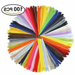 100Pcs 9 Inch Nylon Coil Zippers Bulk for Sewing Crafts Asso