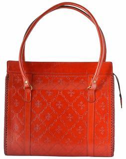 14 inch Women's shoulder purse Vintage Leather Bag stamped d