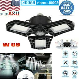 2Pack 60W 6000LM Deformable LED Garage Light Bright Shop Cei