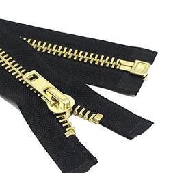 24 Inch Brass Separating Jacket Zipper Y-Teeth Metal Heavy D