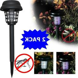 2PC Solar Powered LED Light Mosquito Pest Bug Zapper Insect