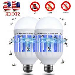 2x E27 Light Zapper LED Light Bulb Bug Mosquito Fly Insect K