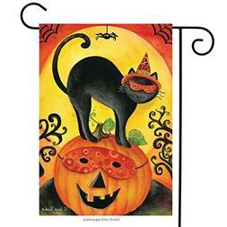 Black Cat Halloween Garden Flag Jack O'lantern Primitive Spi