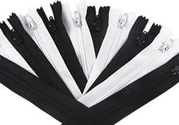 YAKA 50pcs Black & White Nylon Coil Zippers Tailor Sewing To