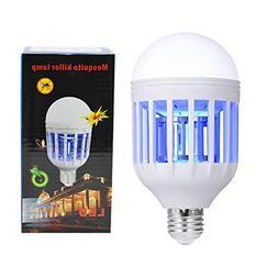 PINSAM Bug Zapper Light Bulb 15W 2 in 1 Mosquito Killer Lamp