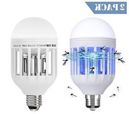 2 Pack Bug Zapper Light Bulbs, 2-In-1 Electronic Mosquito Ki