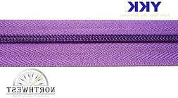 """YKK CF Coil Zipper Chain Tape  #5 Color """"Purple"""" sold by the"""