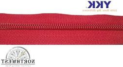 YKK Coil Zipper # 5 Color Red sold by the yard made in the U