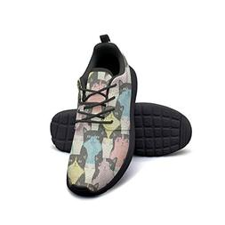 YSLC Colourful Happy Cats Lightweight Running Shoes for Wome