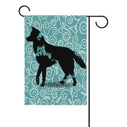 CIliik Decorative Silhouette of A Dog Polyester Garden Flag