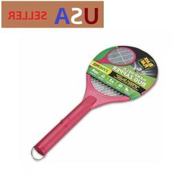 Handheld Bug Zapper Racket - Pink Black Flag Kill Flying Bug