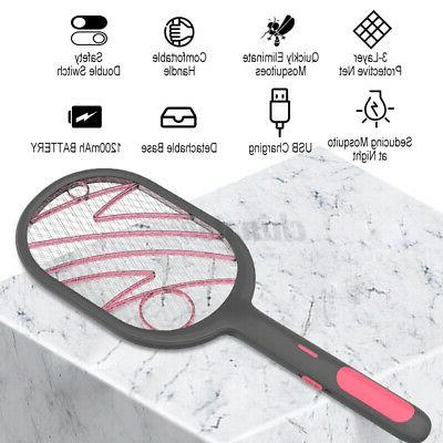 2-in-1 Rechargeable 3Layer Electric Bug Swatter Mosquito