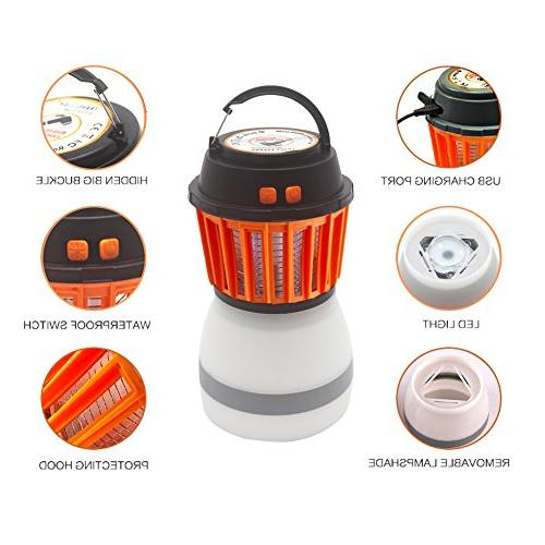 Anordsem LED Rechargeable Insect Lantern Bug Function USB Charging Solar Charging Camping