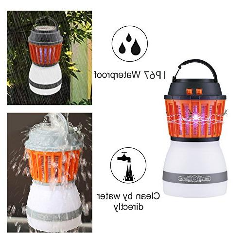 Anordsem LED Rechargeable Insect Lantern with Function USB Solar for Camping Hiking,