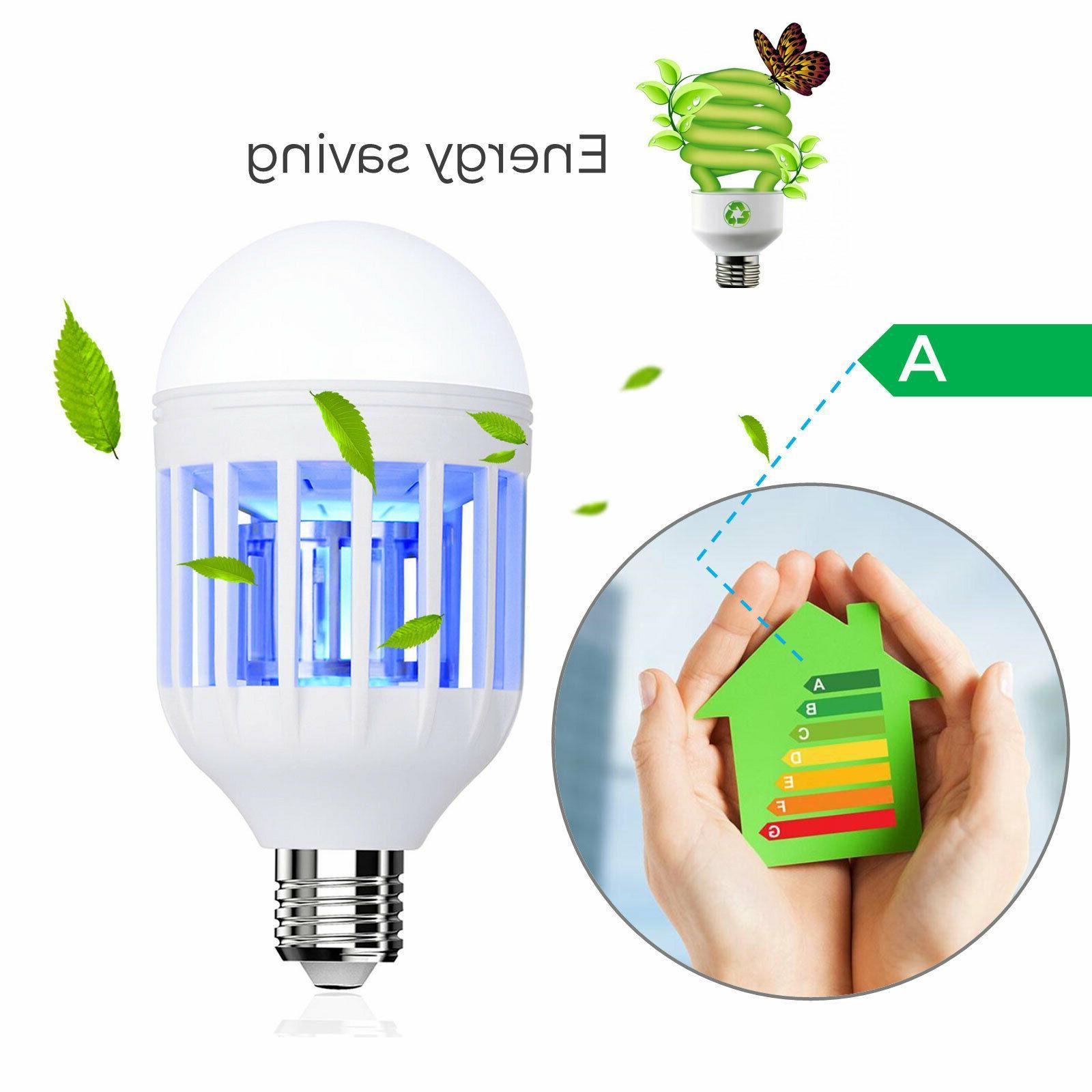 2PCS 1 Light Zapper LED Light Bulb Bug Mosquito Insect Lamp