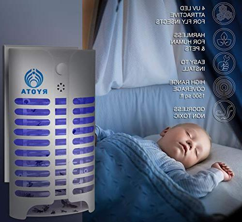 RYOTA Electric Zapper with Electronic Mosquito Repellent | Nontoxic, Odorless Noiseless Fly Powerful & Convenient Lamp