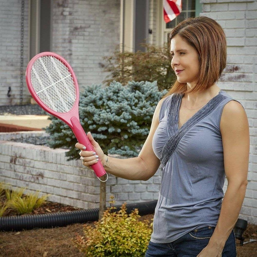 Handheld Bug Zapper Racket - Pink Kill Flying