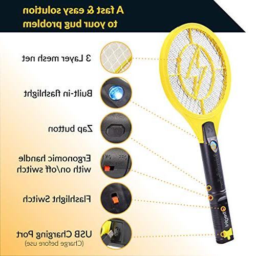 Tregini Electric Fly Swatter – Bug Zapper Tennis Racket Safe Mesh Net and - Insects, Mosquitoes and