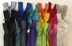 LOT of 18 Long Pull Handbag Zippers 10 inch Bright Assorted