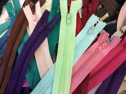 """Lot of 50 Assorted Size / Color 12""""-16"""" Nylon Zippers YKK, T"""