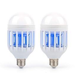 2 Pack Mosquito Killer Lamp, 2-In-1 Bug Zapper Light Bulb, E