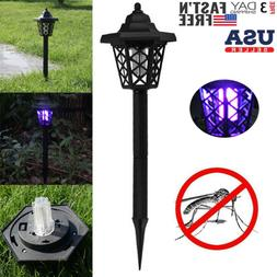 Patio Solar Powered LED Light Mosquito Pest Bug Zapper Insec