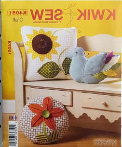 KWIK SEW PATTERN DECORATIVE PILLOW 3 DESIGNS WITH ZIPPER OPE