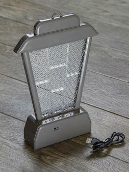 "Rechargeable 11 1/2"" UV Hanging or Standing Bug Zapper, Grey"