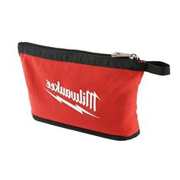MILWAUKEE RED ZIPPER POUCH TOOL BAG HEAVY DUTY TOTE POCKET B