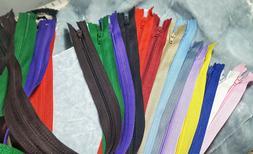 "Regular Nylon Coil Plastic Closed End Zippers 7"" 9"" 12"" 16"""