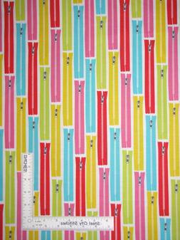 Sewing Theme Multi Color Zippers White Cotton Fabric Studio