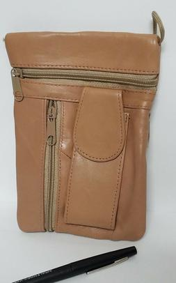 SMALL LEATHER BAG POUCH  WITH ZIPPERS LANYARD AND RETRO CELL