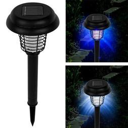 Solar LED Light with Stake and Bug Zapper UV Light Zaps Flie