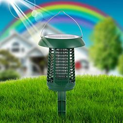 LUCKSTAR Solar Mosquito Zapper - Waterproof Solar Powered LE