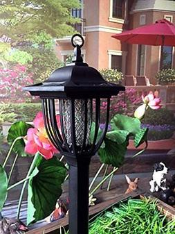 Solar Powered Electric Bug Light Zapper Outdoor Cordless Fly