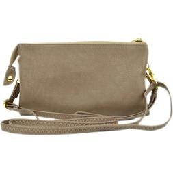 Vegan Leather Crossbody Wristlet Bag or Small Purse Clutch W
